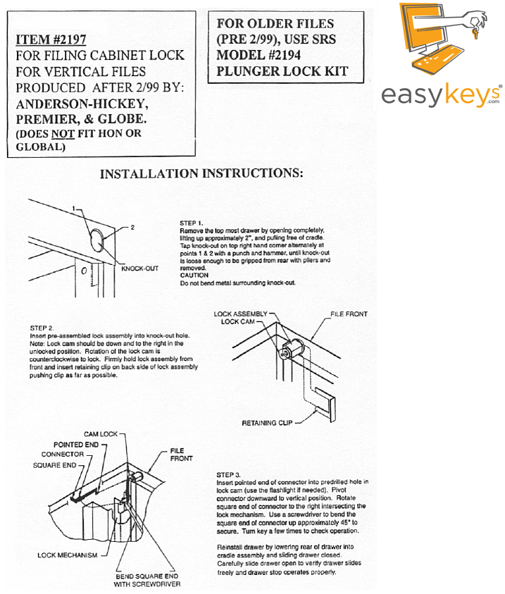 Anderson Hickey Ah2197 155002197 Assembly Instructions Support